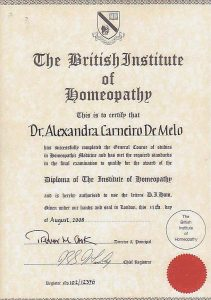 About me | Diploma of The Institute of homeopathy