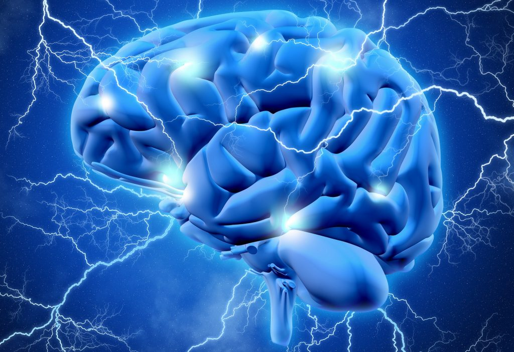 epilepsy ilustration - brain with lightening bolts
